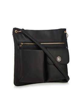 The Collection   Black Double Pocket Shoulder Bag by The Collection