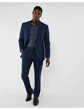 Classic Navy Microdot Cotton Suit Pant by Express