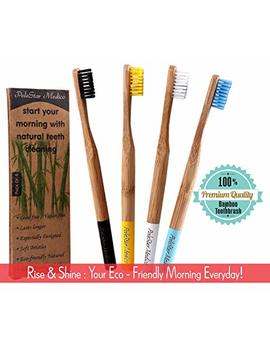 Bamboo Toothbrushes Medium Soft Bristles With Charcoal Infused | Zero Waste Packaging | Eco Friendly Bamboo Toothbrush | Natural Vegan Bpa Free Biodegradable And Natural Dental Care (Family Pack Of 4) by Pole Star Medico