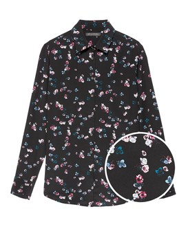 Dillon Classic Fit Floral Washable Silk Shirt by Banana Repbulic