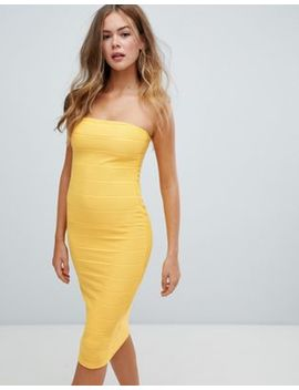Missguided Bandeau Bandage Midi Dress In Yellow by Missguided