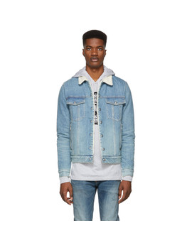 Blue Denim Sherpa Jacket by Balmain