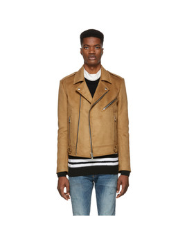 Tan Biker Jacket by Balmain