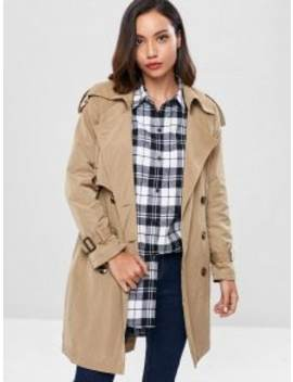 Lightweight Double Breasted Trench Coat   Light Khaki Xl by Zaful