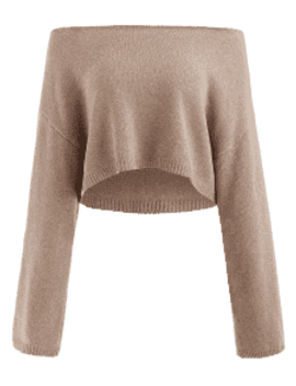 Zaful Skew Collar Drop Shoulder Crop Sweater   Light Brown by Zaful