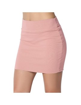 The Mogan Junior's Basic Stretch Cotton High Waist Double Layer Tube Mini Skirt by Walmart