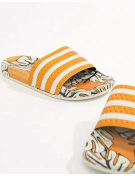 Adidas X Farm Adilette   Slippers Met Tropicalprint by Asos