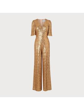 Hutton Gold Sequin Jumpsuit by L.K.Bennett
