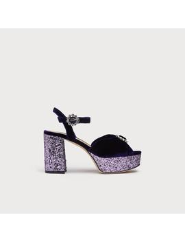 Eline Navy Velvet Sandals by L.K.Bennett
