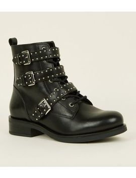 Black Strappy Studded Buckle Biker Boots by New Look