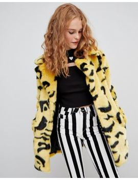 Lazy Oaf Yellow Leopard Coat by Lazy Oaf