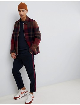 Asos Design Zip Through Jacket In Red Check by Asos Design