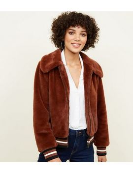 Rust Faux Fur Bomber Jacket by New Look