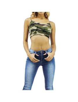 Summer Crush Camo Spaghetti Strap Round Neck Crop Top by Edge Look