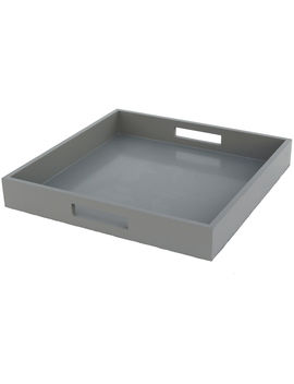 Light Grey Wood Square Tray by At Home