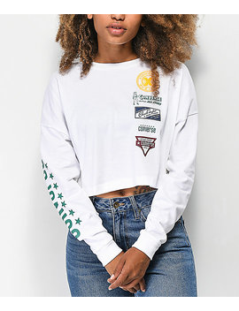 Converse Heritage Patch White Crop Long Sleeve T Shirt by Converse