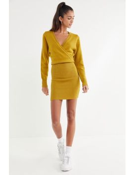 Uo Two Timer Surplice Sweater Dress by Urban Outfitters