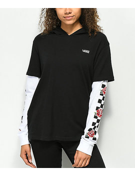 Vans Break Time 2 Fer Hooded Long Sleeve Shirt by Vans