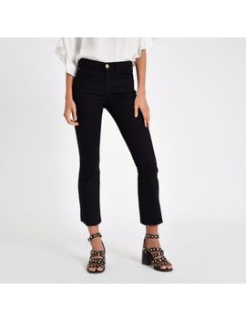 Black Denim Cropped Flare Jeans by River Island