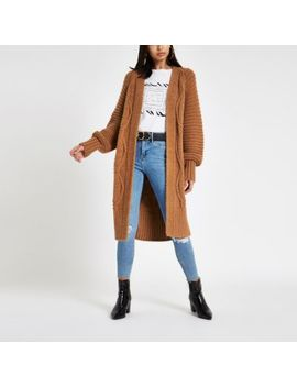 Brown Cable Knit Longline Maxi Cardigan by River Island