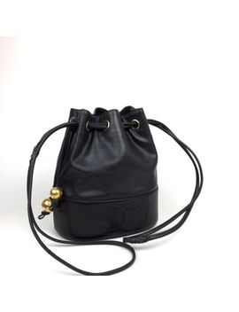 Vtg Brand Chanel Black Caviar Skin Vintage Timeless Bucket Bag Golden by Chanel
