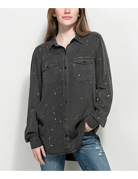 Empyre Jamie Black Paint Splatter Button Up Shirt by Empyre