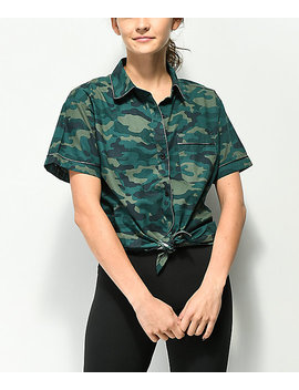 Empyre Hilo Camo Tie Front Button Up Shirt by Empyre