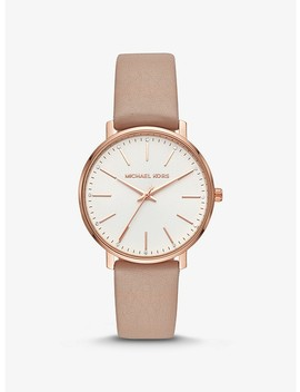 Pyper Rose Gold Tone And Leather Watch by Michael Kors