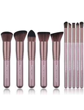 Qivange Makeup Brush Set, Synthetic Soft Kabuki Flat Top Foundation Bronzer Eyeshadow Labeled Makeup Brushes(10pcs, Coffee Gold) by Qivange