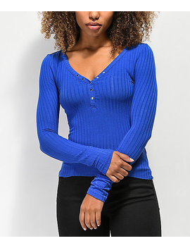 Almost Famous Sandra Rib Solid Cobalt Henley Top by Almost Famous