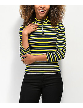Almost Famous Cora Zip Up Yellow Henley Top by Almost Famous