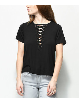 Love, Fire Freddie Deep Lace Up Black Top by Love, Fire
