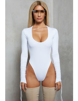 Sleeve A Message Ruched Long Sleeve Bodysuit In White by Oh Polly