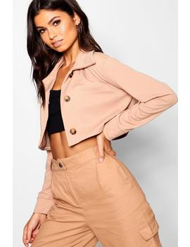 Mock Horn Button Through Trucker Jacket by Boohoo