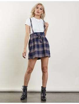Plaid Overall Jumper Skirt by 2020 Ave