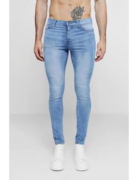 Spray On Skinny Jeans In Washed Blue by Boohoo