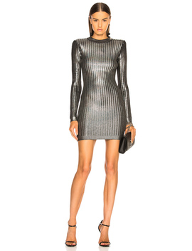 Ribbed Long Sleeve Mini Dress by Balmain