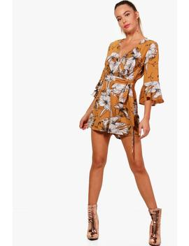 Floral Wrap & Ruffle Sleeve Playsuit by Boohoo