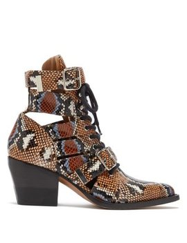 Rylee Python Print Leather Ankle Boots by Chloé
