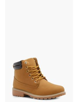 Lace Up Hiker Boots by Boohoo