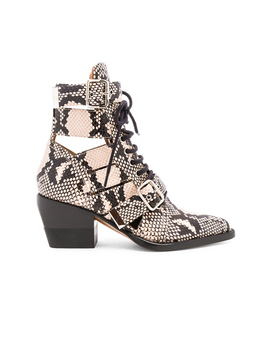 Rylee Python Print Leather Lace Up Buckle Boots by Chloe