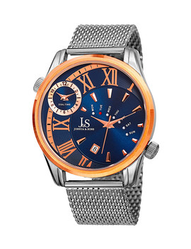 Silver Tone Mesh & Blue Dial Watch by Joshua & Sons
