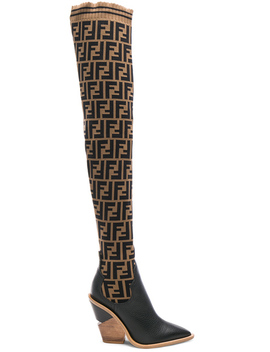 Logo Print Sock Boots by Fendi