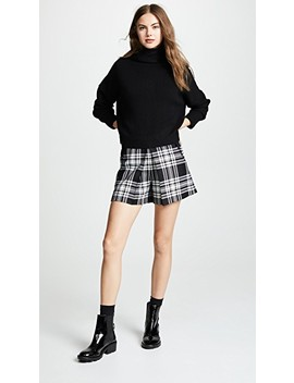 High Waisted Shorts With Fold Front Detail by Alexander Wang