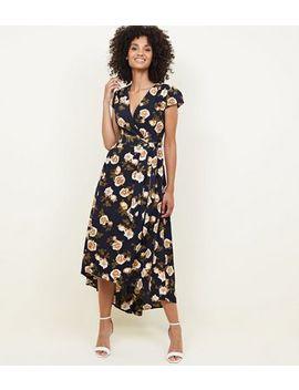 Mela Navy Floral Dip Hem Midi Dress by New Look
