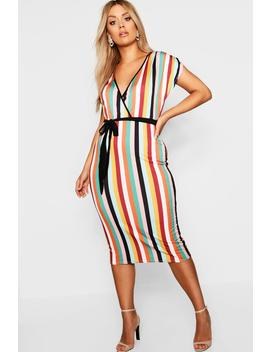 Plus Striped Wrap Dress by Boohoo