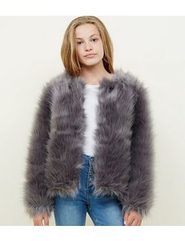 Girls Grey Faux Fur Jacket by New Look