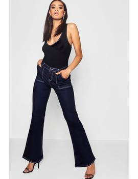 High Waist Contrast Stitch Straight Leg Jeans by Boohoo