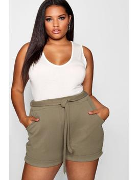 Plus Tie Waist Crepe Shorts by Boohoo