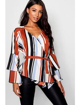 Hollie Wrap Tie Waist Blouse by Boohoo